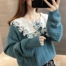 慵懶風圓領毛衣女2021新款針織蕾絲寬鬆溫柔風洋氣秋冬百搭針織衫 小淇嚴選
