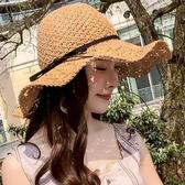 沙灘帽草帽女夏天沙灘帽子海邊度假遮陽防曬帽休閒花朵大檐可折疊太陽帽 3c公社