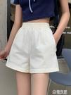 短褲工裝休閒褲女新款韓版寬鬆鬆緊高腰外穿顯瘦白色闊腿褲 極有家