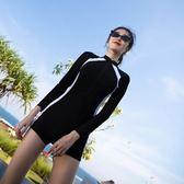 泳衣女士運動連體平角長袖溫泉泳裝