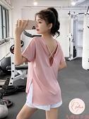 運動健身上衣女夏季薄款寬松顯瘦短袖速干t恤瑜伽健身【大碼百分百】