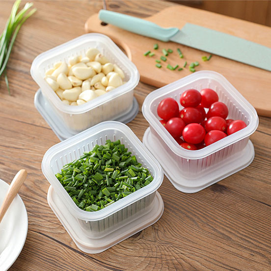 Qmishop 保鮮盒 瀝水籃 方形 保鮮罐 收納盒 密封罐 密封盒【J763】