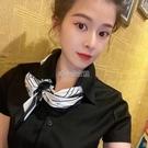 新款韓國時尚簡約黑白小方巾百搭裝飾小領巾春秋小絲巾女 快速出貨