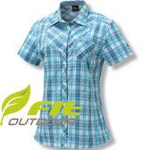 FIT維特GS2201-52水藍色 女格紋吸排抗UV時尚短袖襯衫
