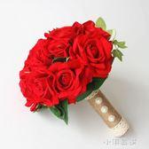 大紅玫瑰新娘手捧花婚禮韓式仿真花束中式婚慶拍攝道具『小淇嚴選』