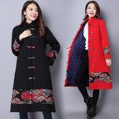 【免運】冬裝女大尺碼中長款民族風盤扣印花拼接長袖開衫外套洋裝 隨想曲