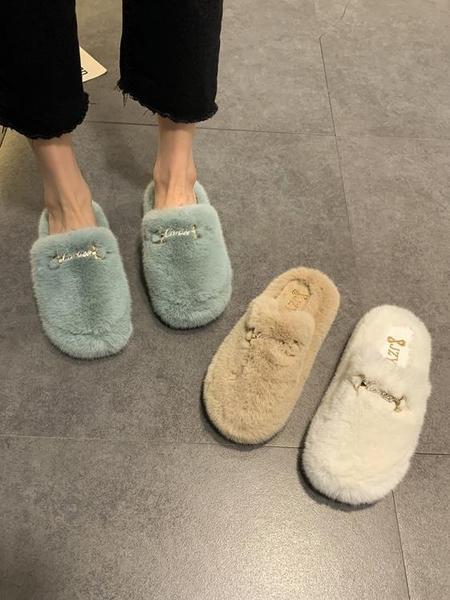 毛毛拖鞋女外穿2020冬季新款韓版網紅百搭時尚休閑防滑包頭棉拖潮 後街五號