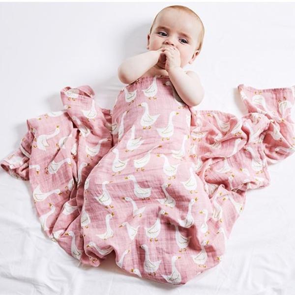 夏季紗布包巾 嬰兒包巾 紗布浴巾 抱被 有機棉 寶寶雙層薄款 新生兒被毯 【JA0014】彌月禮 盒裝