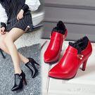 大尺碼高跟靴女秋冬新款女歐美蕾絲細跟高跟防水臺短靴及踝靴 DN19572【棉花糖伊人】