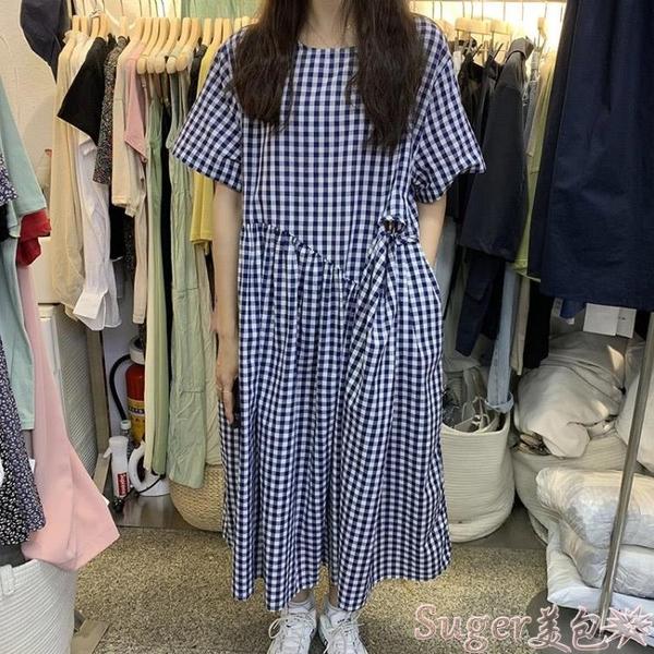 棉麻洋裝 春夏新款韓國東大門連身裙女格子泡泡袖棉麻設計感高腰套頭長裙潮 新品