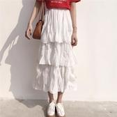 鬆緊高腰褶皺蛋糕裙中長款半身裙