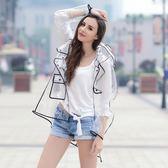 透明成人雨衣女定制LOGO歐美時尚大碼拼接撞色戶外旅游長款雨披