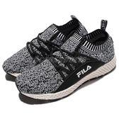 【六折特賣】FILA 慢跑鞋 J307R 低筒 襪套式 黑 白 雪花 運動鞋 編織鞋面 女鞋【PUMP306】 5J307R401