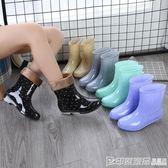 春秋雨鞋女短筒成人保暖雨靴韓版水靴夏季防水鞋女士防滑中筒膠鞋 印象家品旗艦店