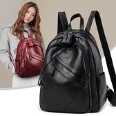 皮革後背包 後背包女2021新款潮韓版軟皮包包時尚百搭大容量書包休閒背包pu包 非凡小鋪