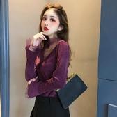襯衫 網紗上衣外穿鏤空蕾絲V領打底衫女2019洋氣修身顯瘦性感長袖t恤潮 玫瑰