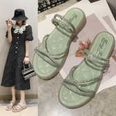 平底涼鞋百搭平底水鉆涼鞋女2020年新款夏季仙女風時裝兩穿羅馬涼拖鞋外穿