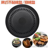 韓式燒烤盤家用圓形不粘烤盤電烤盤鐵板燒戶外無煙烤肉盤電陶爐用igo 美芭