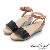 楔型涼鞋 樂活渡假真皮雕花楔型涼鞋(黑)*BalletAngel【18-757bk】【現+預】