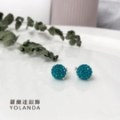 【羅蘭達銀飾】925純銀。 寶綠色圓型水鑽耳環。糖果潮流。