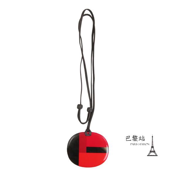 【巴黎站二手名牌專賣店】*現貨*HERMES 愛馬仕 真品* 紅黑造型壓克力 項鍊 頸掛飾