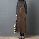 微購【A4066】燈芯絨寬鬆吊帶裙 L-XL