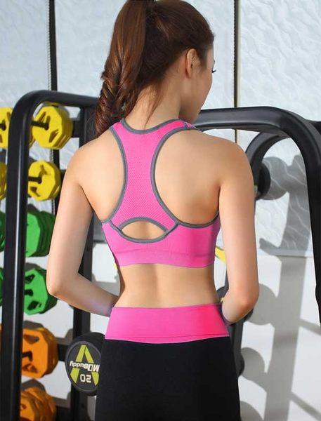女衣(玫紅M)(贈長褲)鏤空美背運動內衣女衣速乾工字美背運動內衣褲
