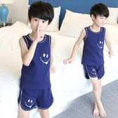 兒童睡衣男童家居服夏季中大童短袖純棉薄款空調服小男孩背心套裝 【開學季巨惠】
