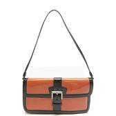 PRADA 普拉達 橘色拼接黑色漆皮肩背包 Shoulder Bag BR0503【BRAND OFF】