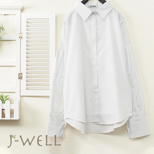 J-WELL 剪裁俐落白襯衫 8J1346