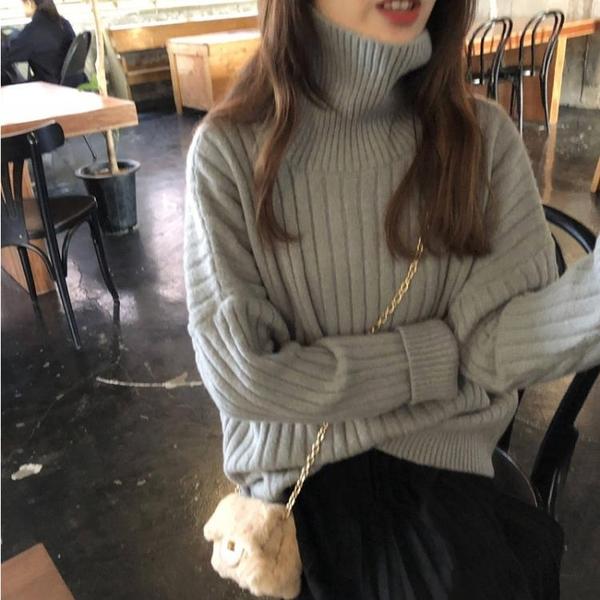 現貨特價 網紅高領套頭毛衣女秋冬領寬松外穿慵懶風加厚針織打底衫紅色上衣