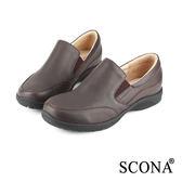 SCONA 全真皮 樂活舒適套式休閒鞋 咖啡色 22413-2