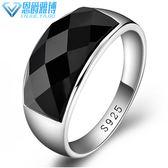 S925純銀白金男士黑瑪瑙寬面大戒指復古韓版時尚霸氣單身潮人禮物
