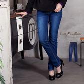 牛仔褲--精緻品味金色麥穗電繡刷色小直筒牛仔褲(藍XL-7L)-N92眼圈熊中大尺碼