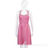BLUMARINE 桃粉色皺褶細肩帶洋裝 0920131-41