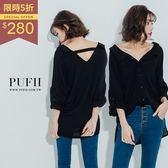 PUFII-雪紡襯衫 前後V領一字鏤空造型雪紡襯衫 2色 - 0322 現+預 秋【CP11927】