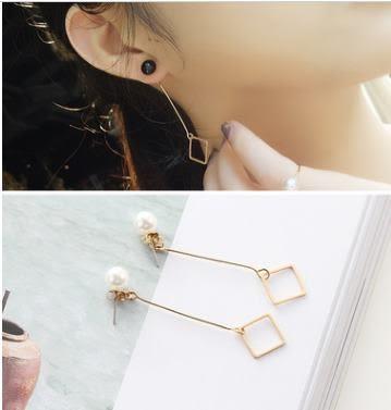 預購 - 氣質韓國極簡約風個性造型幾何珍珠耳釘女耳環耳飾