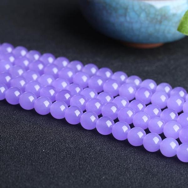 [超豐國際]石英巖玉DIY淡紫玉髓散珠半成品佛珠手鏈項鏈飾品1入