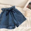 DE SHOP~(FR-823)花苞繫帶高腰牛仔短褲學生寬鬆雙口袋闊腿褲熱褲