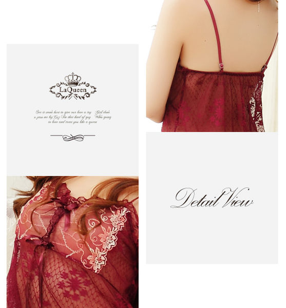 LaQueen 花朵世界*美胸刺繡圖騰質感花朵透膚薄紗連身情趣睡衣(酒魅紅 3639)