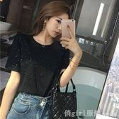 短袖T恤 2019夏季新款港味chic寬鬆圓領閃閃短袖T恤韓版學生短款上衣女裝 俏girl