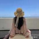 草帽女夏季蕾絲繫帶沙灘帽小清新度假涼帽防曬遮陽帽子 快速出貨