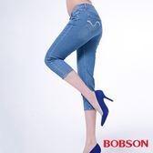 BOBSON 女款低腰膠原蛋白彩色七分褲(223-58)