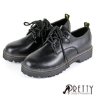 BA-00811 女款大尺碼馬丁靴 經典款三孔綁帶低筒厚底馬丁靴/休閒鞋41-43【PRETTY】