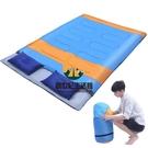 雙人情侶棉睡袋 春秋冬季加厚睡袋 戶外露營成人睡袋 023藍色【創世紀生活館】