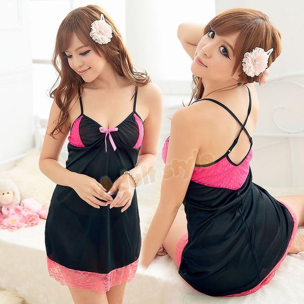 性感睡衣 甜美少女BABY緞面蕾絲睡衣『戀愛520』