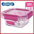 <特價出清>韓國 KOMAX 冰鑽方形強化玻璃保鮮盒 粉 380ml 59850【AE02266】i-Style居家生活