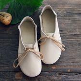 拙雅 圓頭娃娃鞋系帶牛皮軟底文藝森系女鞋日系甜美平跟復古單鞋