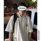 @港仔文藝男 夏季翻領假兩件polo衫男士休閒寬鬆潮流百搭短袖T恤