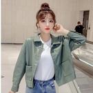 秋裝外套女2020新款女裝韓版POLO領單排扣皮衣短款寬鬆夾克上衣潮YQ404